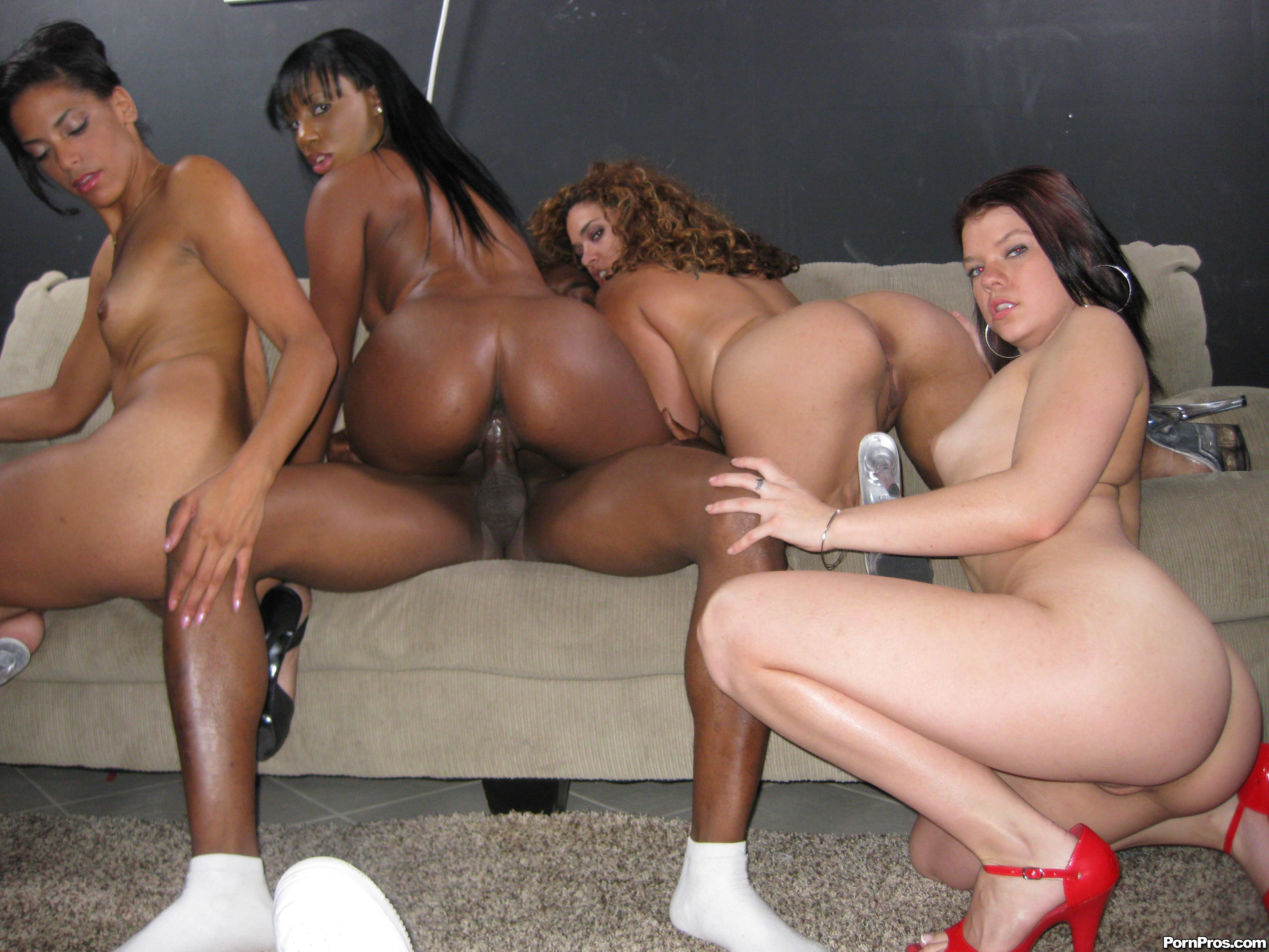 Studs have interracial orgy with beautiful strippers in club