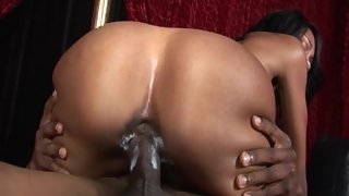 Hot Ebony Slut with Big Buttocks riding on with creamy pussy