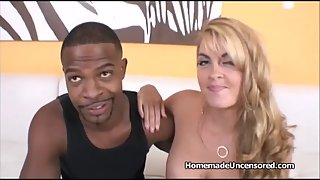 Blonde with some amazing juggs has sex with a good friend
