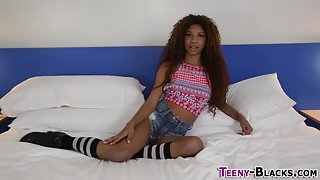 Ebony teen is finger banged and humped