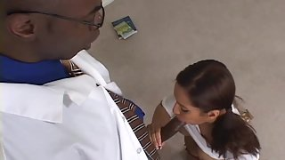 Naughty brunette gets fucked by her black doctor
