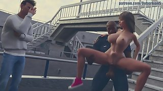 Shapely brunette babe gets fucked by a black cop while her boyfriend watches