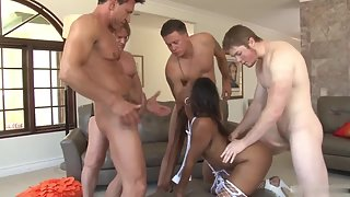 Stockings Wearing Black Chick Blowing and Getting Gang Banged