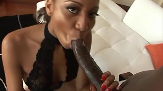 Stunning ebony beauty loves when cock is black and big