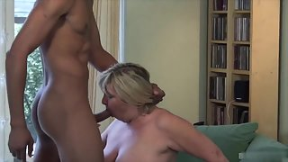 Passionate Blonde Granny Blowing Big Black Penis after Striptease