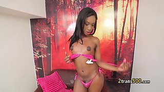 Adorable Ebony Tgirl With Small Tits Sucking Her Shecock on Webcam