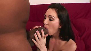 Busty white babe goes wild with a big black cock