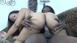 Chubby ebony babe gets drilled by a big black cock