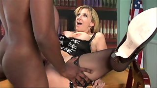 Sexy blonde milf always wanted to get fucked by a black dude