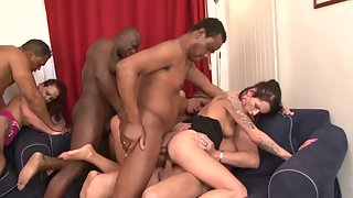 Young Brunette Babe in Black Lingerie Enjoys in Group Sex with Black Dudes
