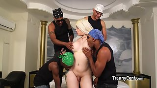 Buxom Blonde Shemale in interracial Groupsex Gets Tits Sucked and Seduced