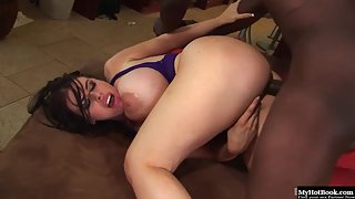 Pretty Daphne Rosen with thick body gets a taste of massive black dick