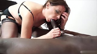 Appealing Sexy Beauty Passionately Sucking Big Black Penis on Her Knees